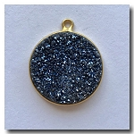 Druzy Pendant | Midnight Blue Round | 19.5mm