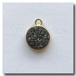 Druzy Pendant | Charcoal Black Round | 10mm