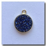 Druzy Pendant | Peacock Blue Round | 12.5mm