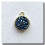 Druzy Pendant | Peacock Blue Green Round | 10mm