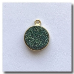 Druzy Pendant | Peacock Green Round | 13mm