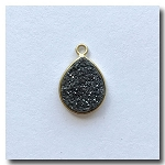 Druzy Pendant | Charcoal Black Teardrop | 13.5x10mm