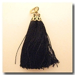 Silk Tassel | One Inch | Black | Antique Gold Cap