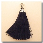Silk Tassel | One Inch | Black | Antique Silver Cap