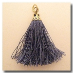 Silk Tassel | One Inch | Charcoal | Antique Gold Cap
