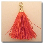 Silk Tassel | One Inch | Coral | Antique Gold Cap