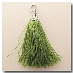 Silk Tassel | One Inch | Thyme Green | Antique Silver Cap