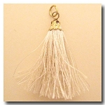Silk Tassel | One Inch | Ivory | Antique Gold Cap