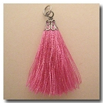 Silk Tassel | One Inch | Petal Pink | Antique Silver Cap