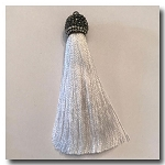 Silk Tassel | 3 inch | White | Pave Crystal Bail