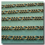 Antique Brass Figaro Style Chain