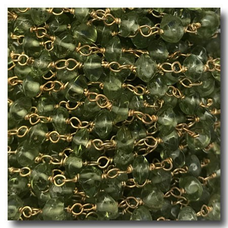 Peridot Stone Chain | Gold Plate | 3mm