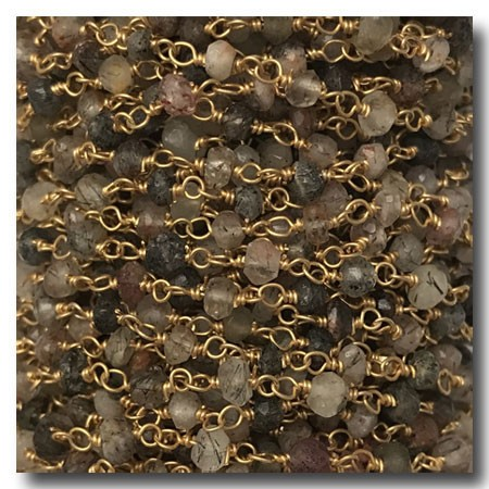 Tourmaline Stone Chain | Gold Plate | 2mm