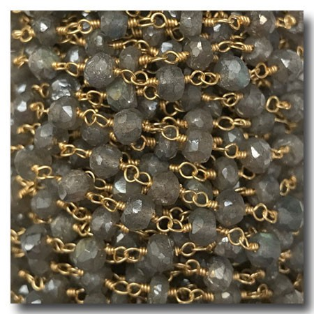 Labradorite Stone Chain | Gold Plate | 3mm