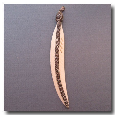 1-4710 Large Handcarved Rhinestone Crystal Encrusted Bone Feather -- 4.25 inches