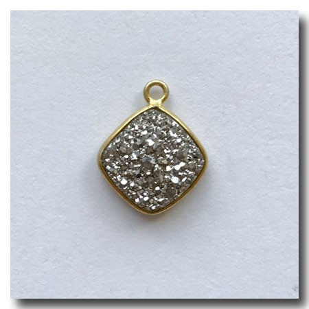 1-4733 Druzy-Silver Square Rhombus Pendant-24kt gold electroplate - 11mm