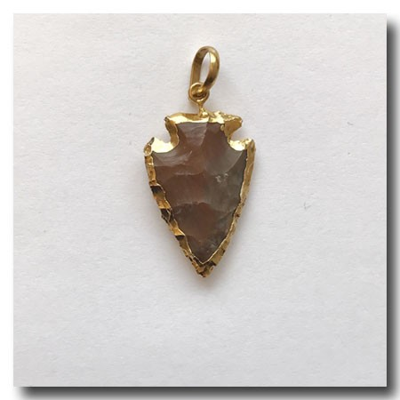 Desert Red Jasper Arrowhead Small-24kt gold electroplate edge - 30mm