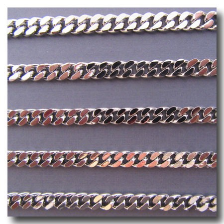 Rhodium Plate Large Diamond Cut Boxcar Curb Chain 6mm