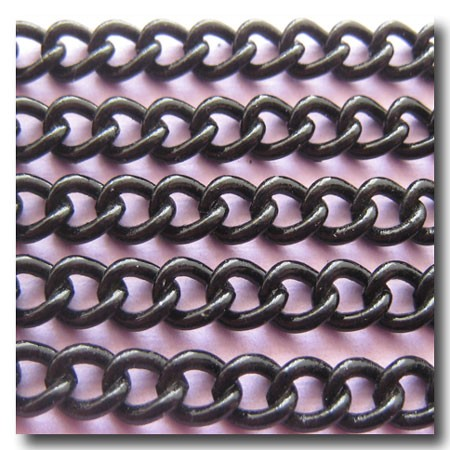 Shiny Black Small Curb Chain