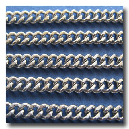 Stainless Steel Diamond Cut Boxcar Curb Chain 4mm