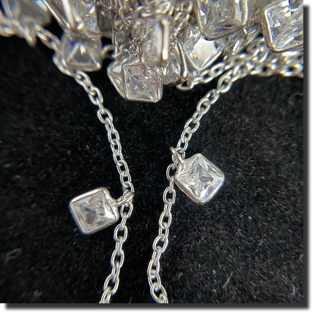 Sterling Silver Chain with Dangling Square CZ