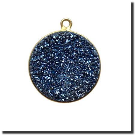 Druzy Pendant | Midnight Blue Round | 18.5mm