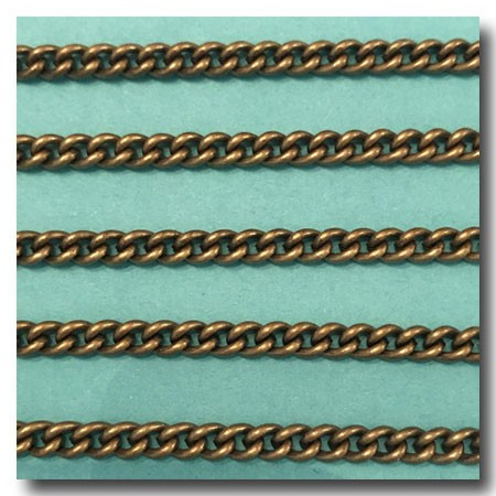 Antique Brass Cuban Curb Chain 4mm