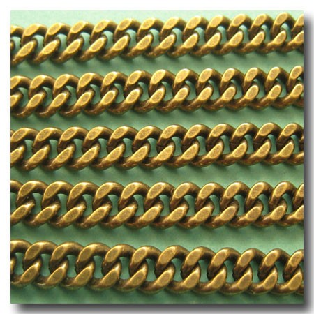 Antique Brass Medium Diamond Cut Boxcar Curb Chain 5.5mm