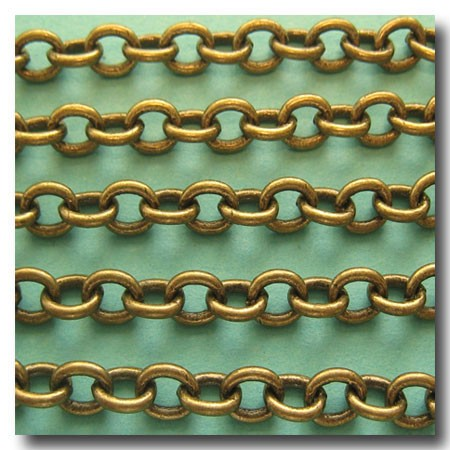 Antique Brass Classic Elongated Oval Cable Chain 6.5mm x 5mm