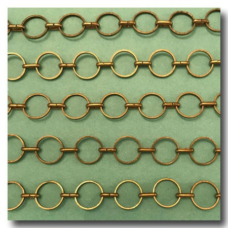 Antique Brass Round-Ring Contemporary Chain