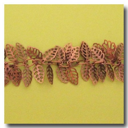 Antique Copper Filigree Leaf Chain