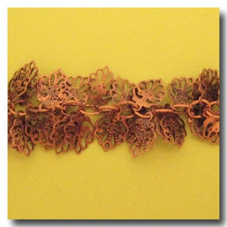 Antique Copper Scallop Leaf Chain