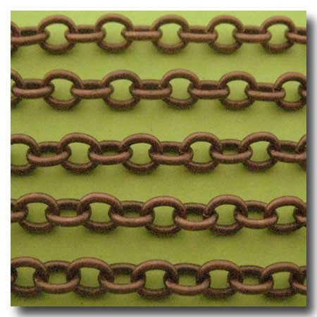 Antique Copper Classic Elongated Oval Cable Chain 6x4.1mm