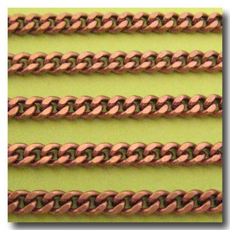 Antique Copper Small Diamond Cut Boxcar Chain 4mm