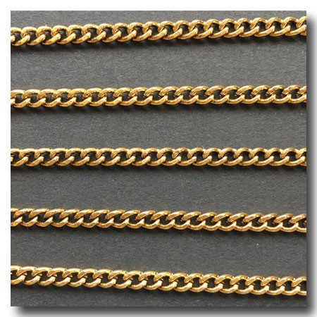 Antique Gold Plate Curb Chain 4mm