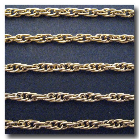 Antique Gold Plate Rope Style Chain 4mm