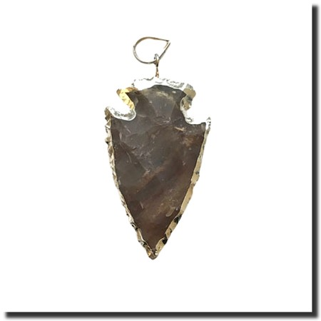 Taupe Jasper Arrowhead Medium-Silver Electroplate Edge - 50mm