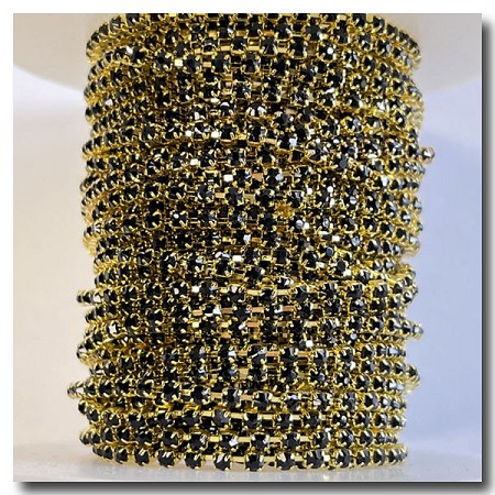 Black Rhinestone Cup Chain 2mm | Gold