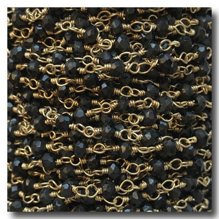 Black Spinel Smooth Round Stone Chain | Gold Plate | 3mm