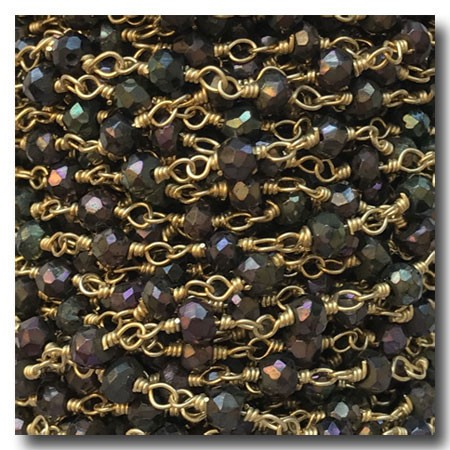 Black Spinel Coated Stone Chain | Gold Plate | 3mm