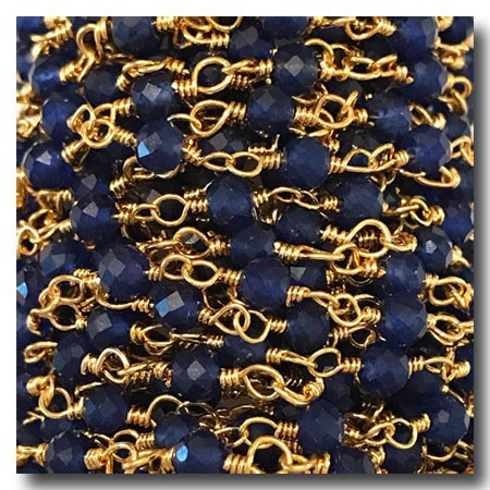Blue Aventurine Stone Chain | Gold Plate | 2.5mm