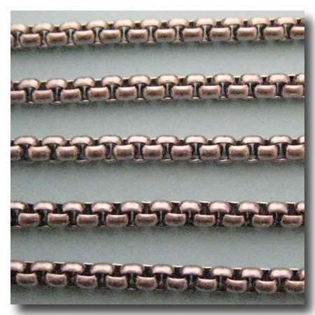 Brushed Silver Plate New Box Chain 4mm