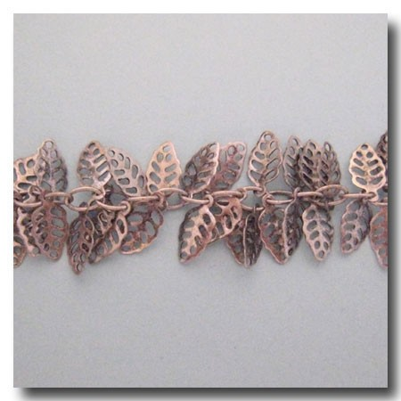 Brushed Silver Plate Filigree Leaf Chain