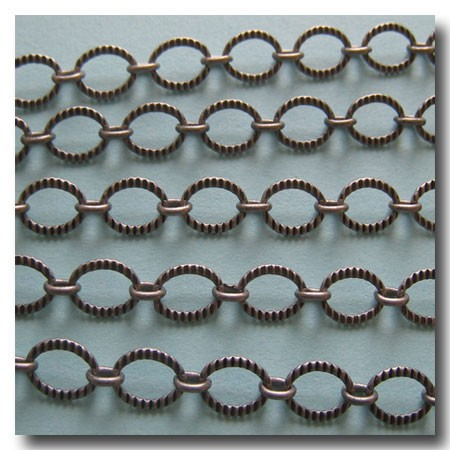 Brushed Silver Plate Crimped Oval Style Chain