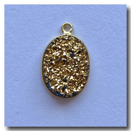 Druzy Pendant | Gold Oval | 17.5x13mm