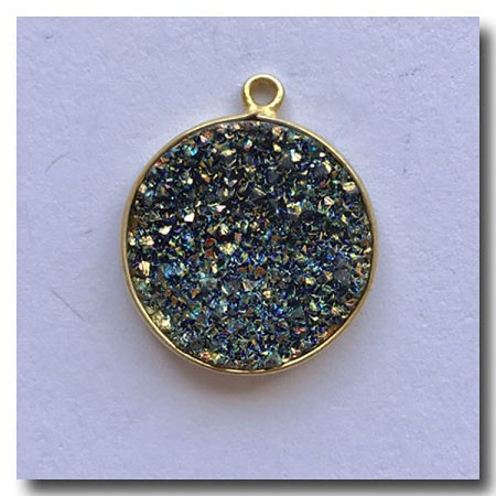 Druzy Pendant | Peacock Brown Gold Round | 19.5mm