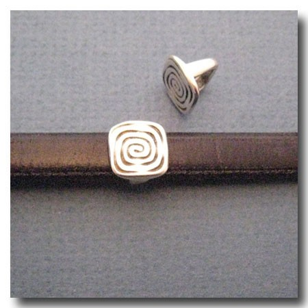 Antique Silver Euro Licorice Coiled Square
