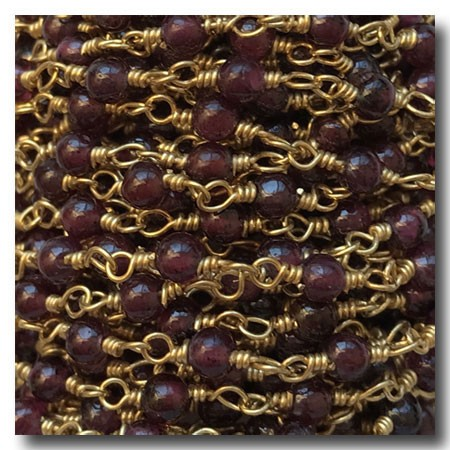Garnet Smooth Round Stone Chain | Gold Plate | 2.5mm