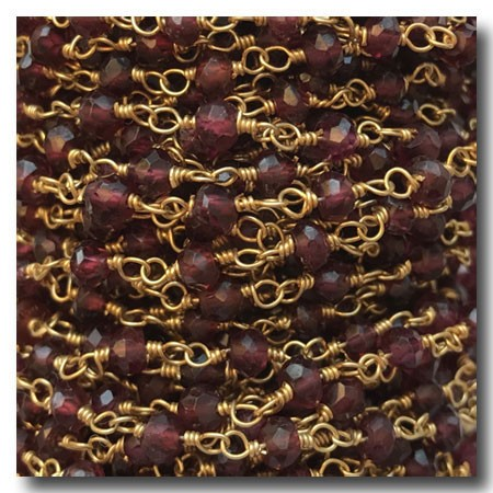 Garnet Stone Chain | Gold Plate | 3mm