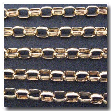 Gold Plate Large Oval Rolo Chain 8.8 x 12mm